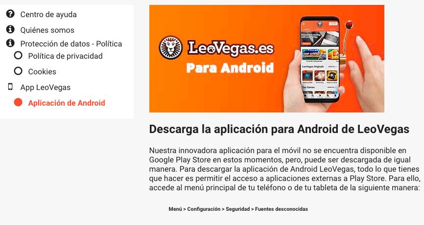 Leo Vegas para Android